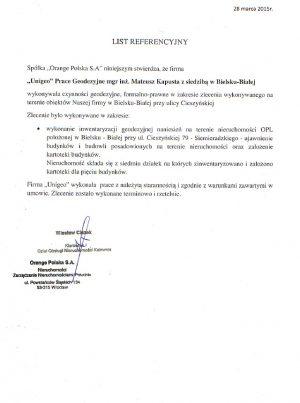 Orange Polska S.A - list referencyjny